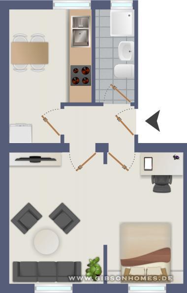 vermietete nette kleine wohnung mit wohnk che zur kapitalanlage. Black Bedroom Furniture Sets. Home Design Ideas